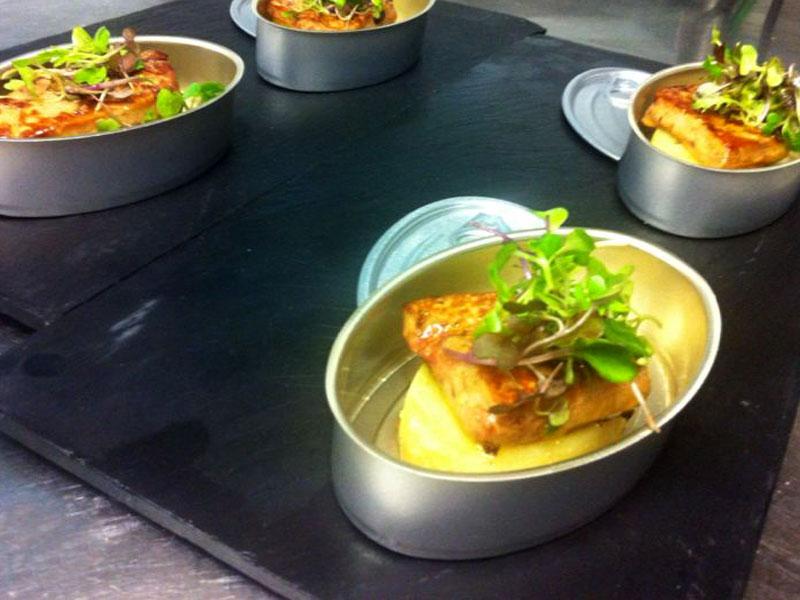 Patata confitada con foie-grass.