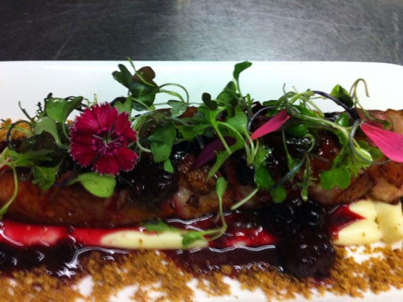 Magret de pato con frutos rojos y salsa de pistacho.